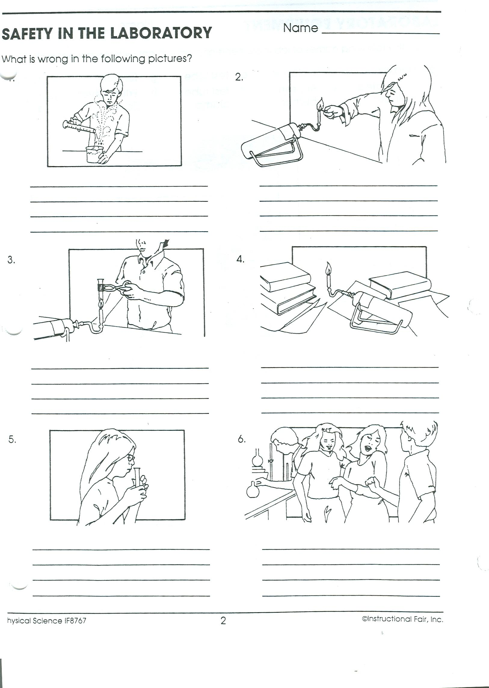 Worksheet Science Safety Worksheets science class on line e mail the safety rules that are being violated in each picture to mr sheehy